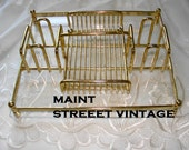 Gold Tone Metal and Lucite Desk Dresser Tray Organizer