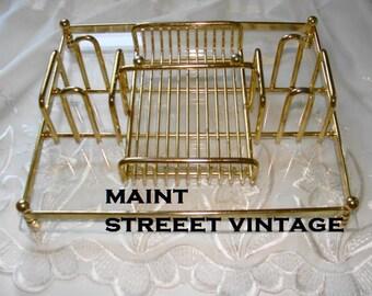 Vintage Unique Gold Tone Metal and Lucite Desk Dresser Tray Organizer
