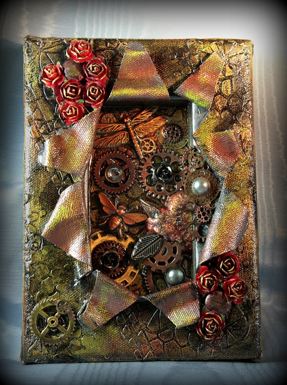 Steampunk Book Cover Tutorial : Items similar to steampunk art gears and bugs