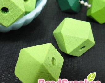 BE-WO-01018 - Geometric wood beads,Mint 10 pcs