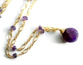 Purple Necklace, Chalcedony Drop, Amethyst, 14K Gold Filled Gemstone Necklace
