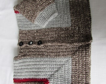 Unique Style Crochet Toddler Sweater Jacket Size 2/3 Brown and Gray