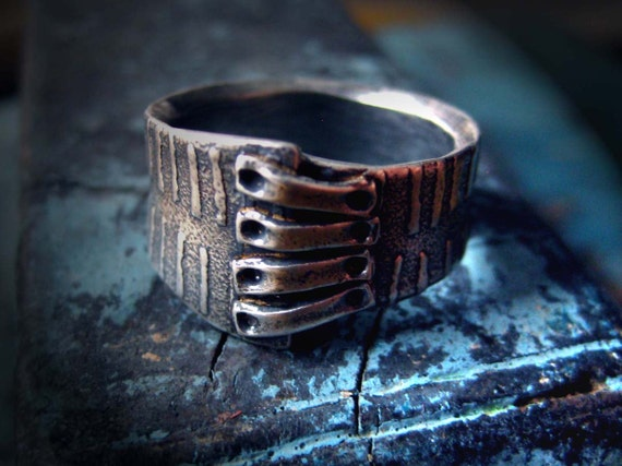 Dashes Ring: Patched with Mud Cloth Pattern, size 8 1/4