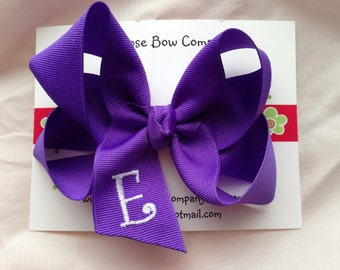 Lilly - Customized  Girls Monogrammed Hair Bow - LRG W/ Curlz Font