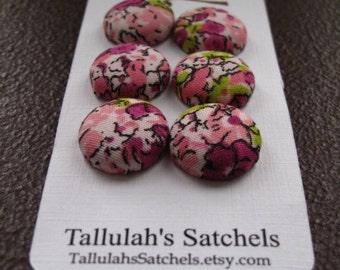"""Wearable Sew On Fabric Covered Buttons - Size 30 or 3/4"""" Pink and Purple Flowers"""