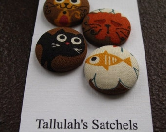 Wearable Sew On Fabric Covered Buttons - Size 36 or  7/8 inches  Cats