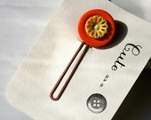 Cute as a Button--Orange and Yellow Vintage Button Hair Pin