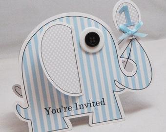 Boy Elephant Shaped Invitations- 1st Birthday- Set of 10