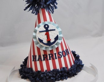 Boy Nautical 1st Birthday Party Hat- Personalized