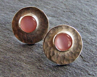 LAST PAIR - Hammered Sterling Silver and Pink Mother of Pearl Post Earrings - Fine Metal Artisan Jewelry