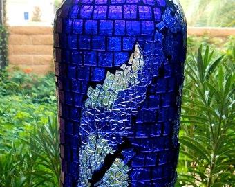 Decorative Blue Bottle Tempered Glass Mosaic