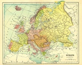 old map of Europe, very detailed and colorful, a printable digital map no. 775