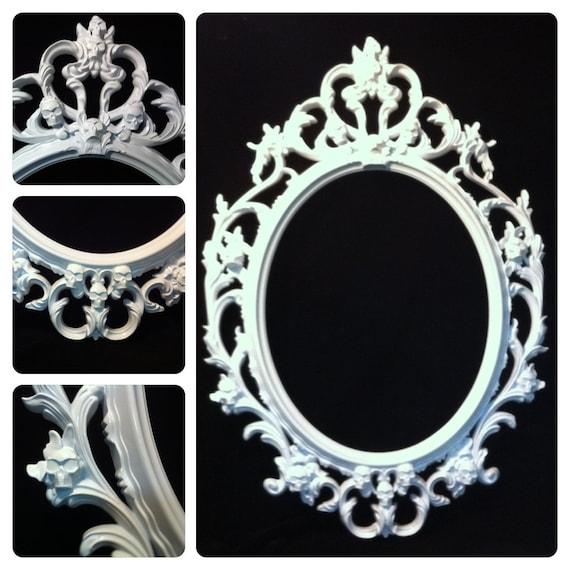 Bilderrahmen Verzieren Ornamente ~ Glanz weißen Schädel Oval Bild Frame Spiegel Shabby Chic barocken