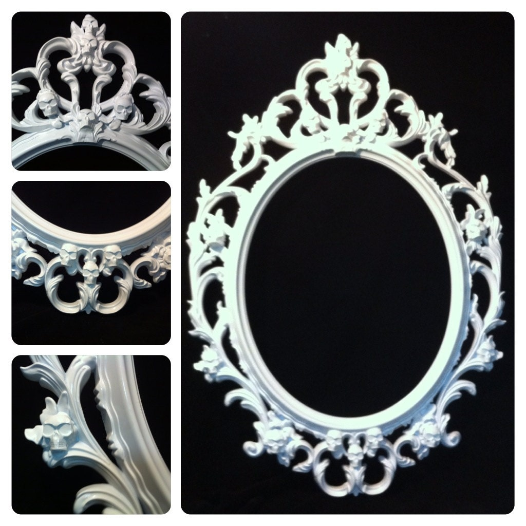 gloss white skull oval picture frame mirror shabby chic. Black Bedroom Furniture Sets. Home Design Ideas