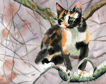 Calico Cat  Art Print of a Watercolor Handmade Painting large big huge black orange reproduction hand painted custom canvas