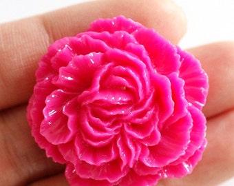 Sale 4pcs Deep Pink Big Peony Flower Cabochons 31mm
