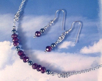 Red Garnet Sterling or Stainless Steel Chain Hematite Gemstone Necklace or Choker January Birthstone Jewelry