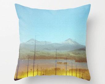 throw pillow cover decorative pillow cover surreal photo pillow accent pillow golden sunset mountain landscape. turquoise blue rustic decor.