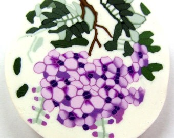 """Polymer clay milefiore canes. 1"""" wide. Wisteria flowers"""