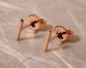 7mm x 1mm Dainty Stud Earrings Rose Gold Line Studs Small 14k Minimal Bar Earrings by SARANTOS