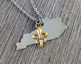 Kentucky Necklace Silver Aluminum Tag with Antiqued Gold Tone Fleur de Lis Charm  Freshwater Pearl on Stainless Steel Chain
