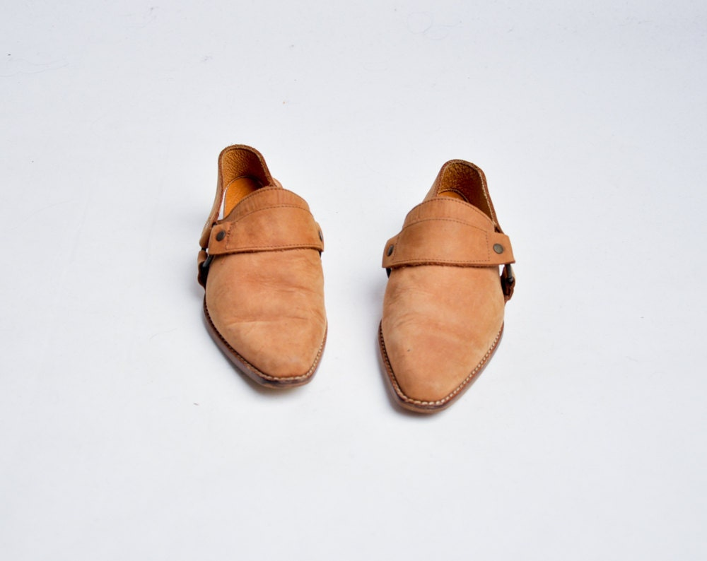 light brown suede slingback clogs 7 by persephonevintage