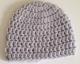 Crochet Baby Hat Lt Grey