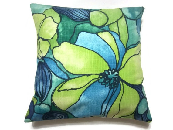 Navy And Teal Throw Pillows: RESERVED Decorative Pillow Cover Turquoise Chartreuse Navy