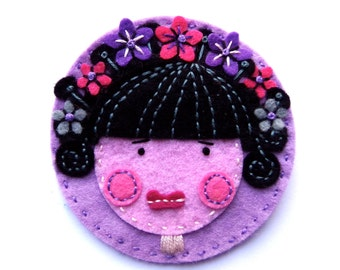 FLOWER Girl - felt brooch pin with freeform embroidery