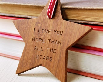 I Love You Personalised Wooden Star - Valentines Gift - Anniversary Gift