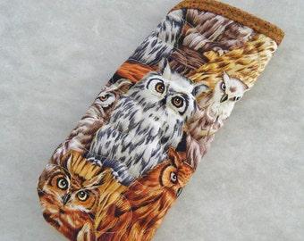 Quilted Sunglass/Eyeglass case - Owls
