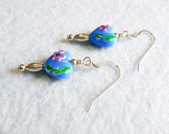 Lampwork heart and silver drop beaded earrings - Destash sale - Clearance