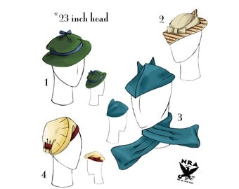 NVL 1930s Hat Quartet with Scarf repro pattern 23 inch head PLUS SIZE 1532