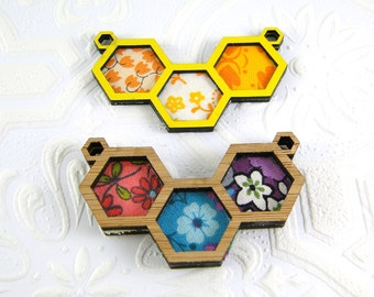 Make your own Hexagon pendant - triple hexagons, .75 inch, two connectors