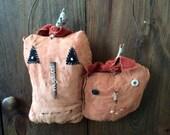 CustomerAppreciation Sale Primitive Halloween Pumpkins Slim & Smiley ready to ship