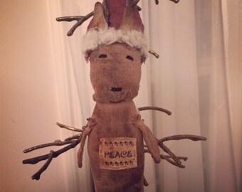 Primitive Christmas Reindeer Ornie