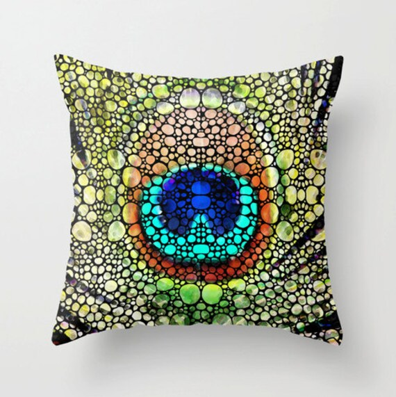Throw Pillow Peacock Art COVER Design Jewel Tones Bed Chair
