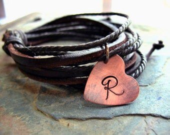Personalized Leather Bracelet - Multi Strand, Adjustable, Chocolate Leather Jewelry, Rustic Copper Heart, Initial Bracelet, Braided