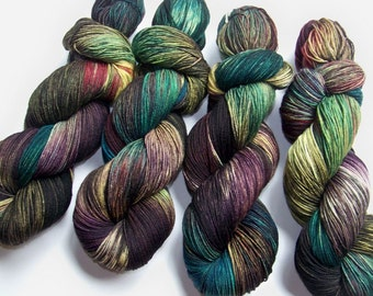 Hand Painted Superwash Merino and Nylon 4-Ply Sock Yarn -- The Walking Dead -- Reanimated After Ten Minutes