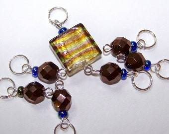 Hand Made Stitch Markers -- Bronze Bling with Lamp Work Glass Square
