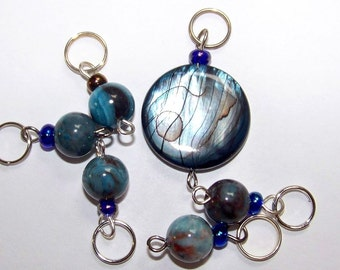 Hand Made Stitch Markers -- Teal and Brown Seashell and Agate