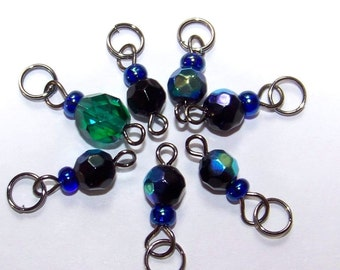 SJK Tinies -- Delicate Stitch Markers for Small Needles -- Midnight Minis