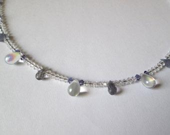 SALE - Swarovski and Iolite Beaded Necklace
