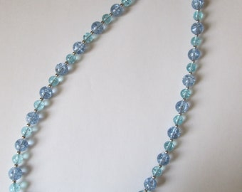 SALE - Teal and Blue Crackle Glass Beaded Necklace