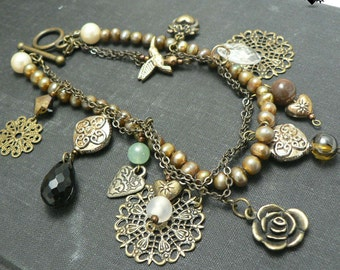 CLEARANCE SALE 40% OFF Antique Style Chinois Bronze Charm Bracelet
