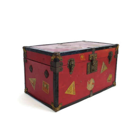 Vintage 1950s Doll Trunk with Travel Stickers by marybethhale
