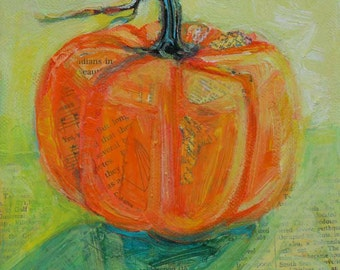 Early Pumpkin original mixed media still life painting by Polly Jones
