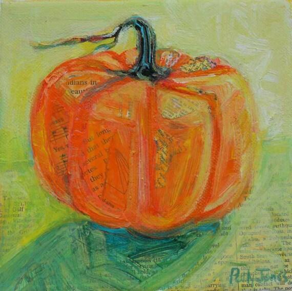 Early Pumpkin original mixed media still life painting by Polly Jones