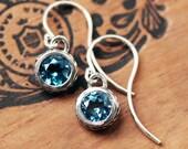 London blue topaz earrings, london blue earrings, dangle, twisted earrings, oxidized silver earrings silver, gift for wife, ready to ship