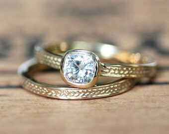 Moissanite wedding set - braided gold ring - recycled gold - wheat band rings - forever brilliant square stone - artisan - made to order